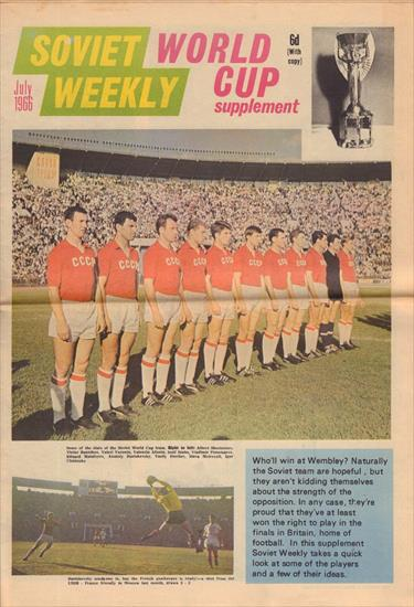 1d05a38586914 SOVIET WEEKLY WORLD CUP SUPPLEMENT (July 1966)(Top Preview USSR World Cup  1966)