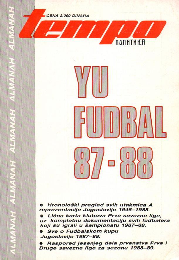 Karta Yugoslavia.Yearbook Yugoslavia Yu Fudbal 87 88
