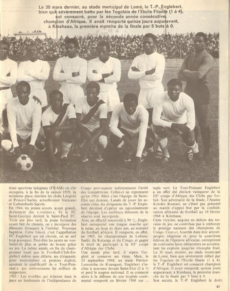 Tp englebert vainqueur de la coupe d 39 afrique des clubs 1969 - Coupe d afrique des clubs ...